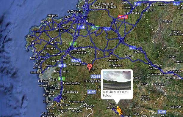 Mapa de Galicia con Google Sytreet View